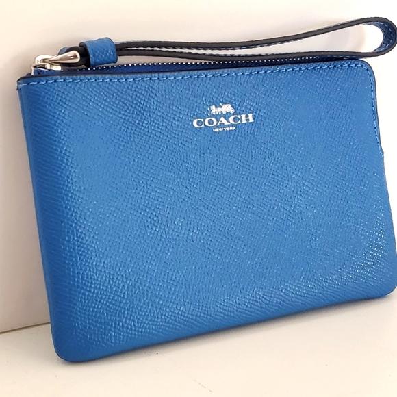 Coach Vivid Blue Corner Zip Wristlet